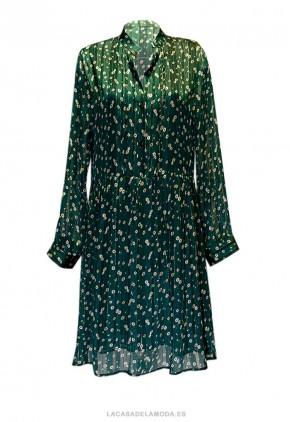 Vestido corto de gasa verde holgado