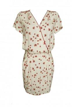 Vestido corto estampado oriental con cuello pico manga corta y bolsillos