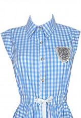 Vestido cuadros vichy azul y blanco con cuello inglés