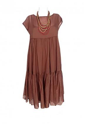 Vestido de algodón con volantes marrón