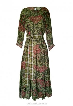 Vestido de algodón estampado con manga