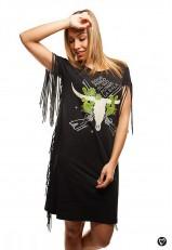 Vestido de algodón flecos color negro con eslogan corto y casual