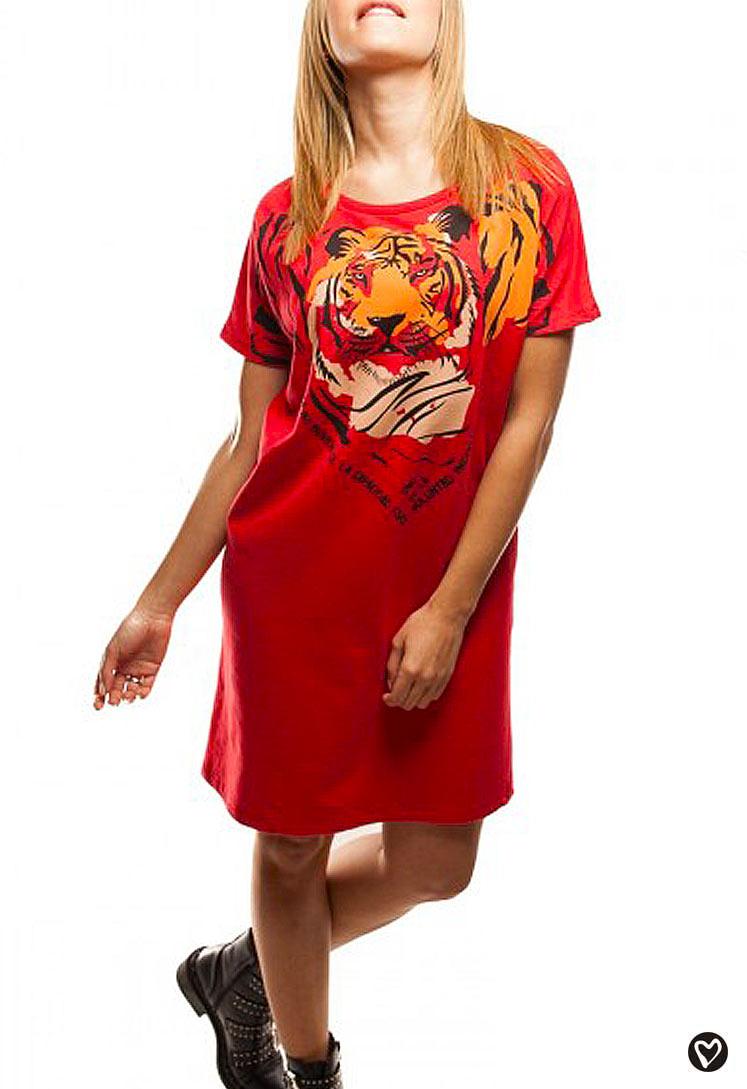 83b9dec43 Vestido de algodón rojo suelto juvenil online