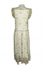 Vestido de gasa largo estampado con cuello francés y botones delante