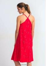 Vestido ecológico de asas rojo con bolsillos