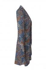 Vestido estampado floral corto con lazo y manga larga