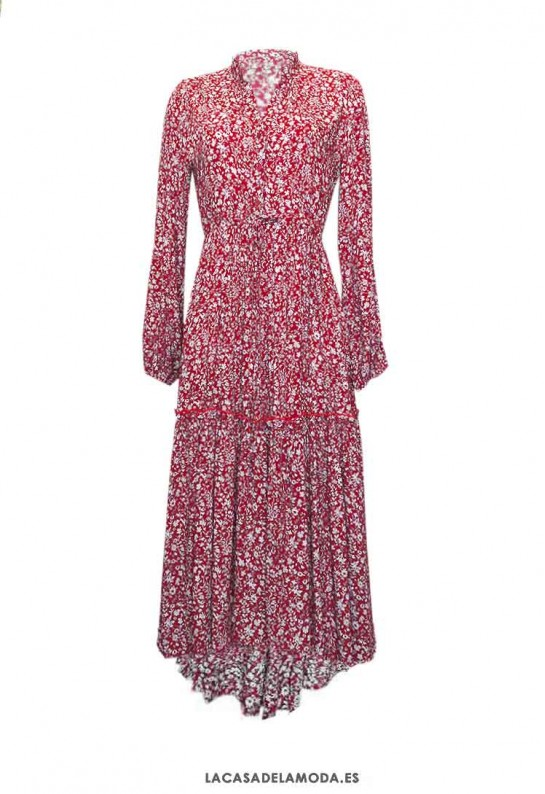 Vestido estampado floral rojo y blanco manga larga