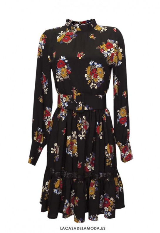 Vestido flores corto con encaje y manga larga