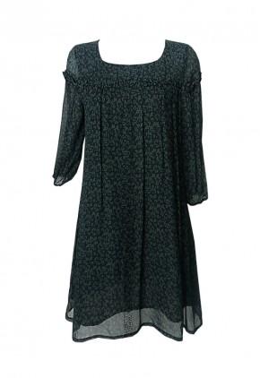 Vestido holgado negro y verde oliva con manga larga francesa