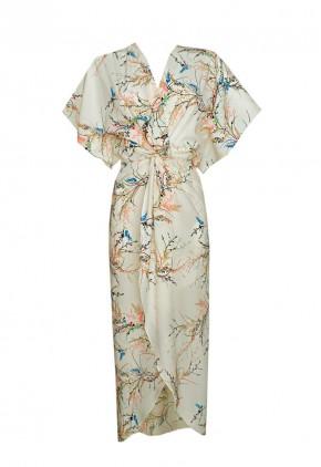 Vestido kimono estampado flores largo