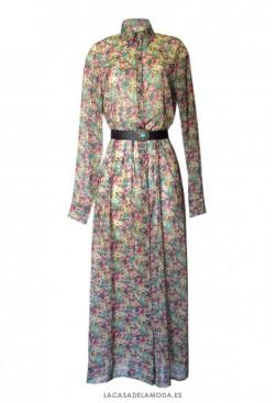Vestido largo estampado camisero elegante