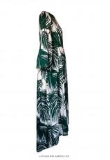 Vestido largo estampado con manga larga