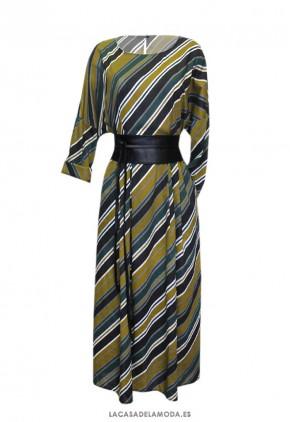 Vestido largo estampado de algodón con rayas