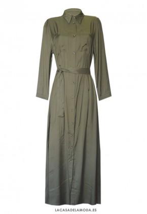 Vestido largo verde militar de manga larga