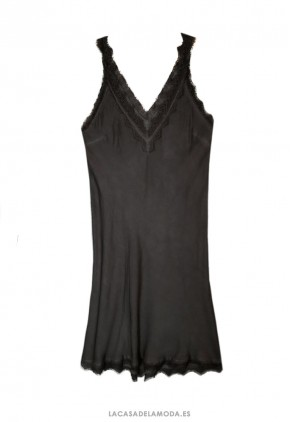 Vestido lencero negro corto con encaje