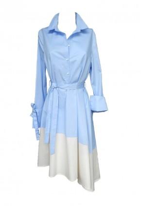 Vestido midi asimétrico azul y blanco con manga larga y puños mosqueteros