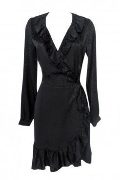 Vestido negro corto volantes de manga larga y escote