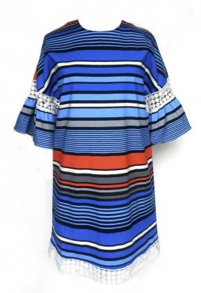 Vestido rayas horizontales de colores con mangas farol