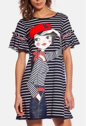 Vestido rayas marineras horizontales de algodón