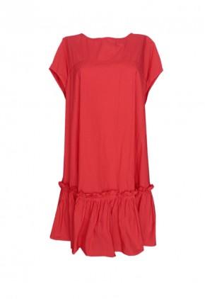 Vestido rojo con volante y espalda descubierta en algodón