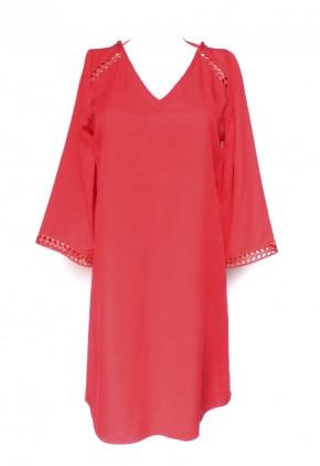 Vestido rojo corto escote espalda y holgado