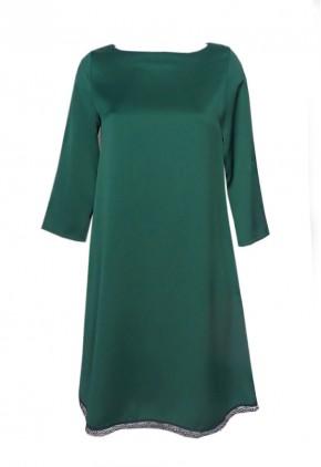 Vestido verde botella satén invitada para boda de día