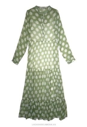 Vestido verde con lunares blancos