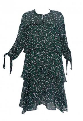 Vestido volantes flores verde negro corto