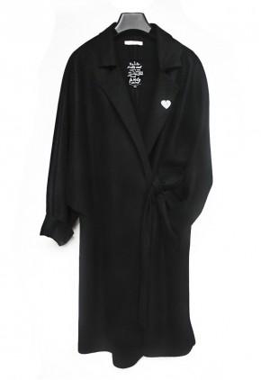 Abrigo oversize negro de paño fino original y elegante de mujer