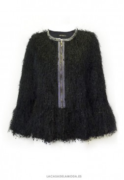 Chaqueta corta negra fiesta de pelo de vestir mujer