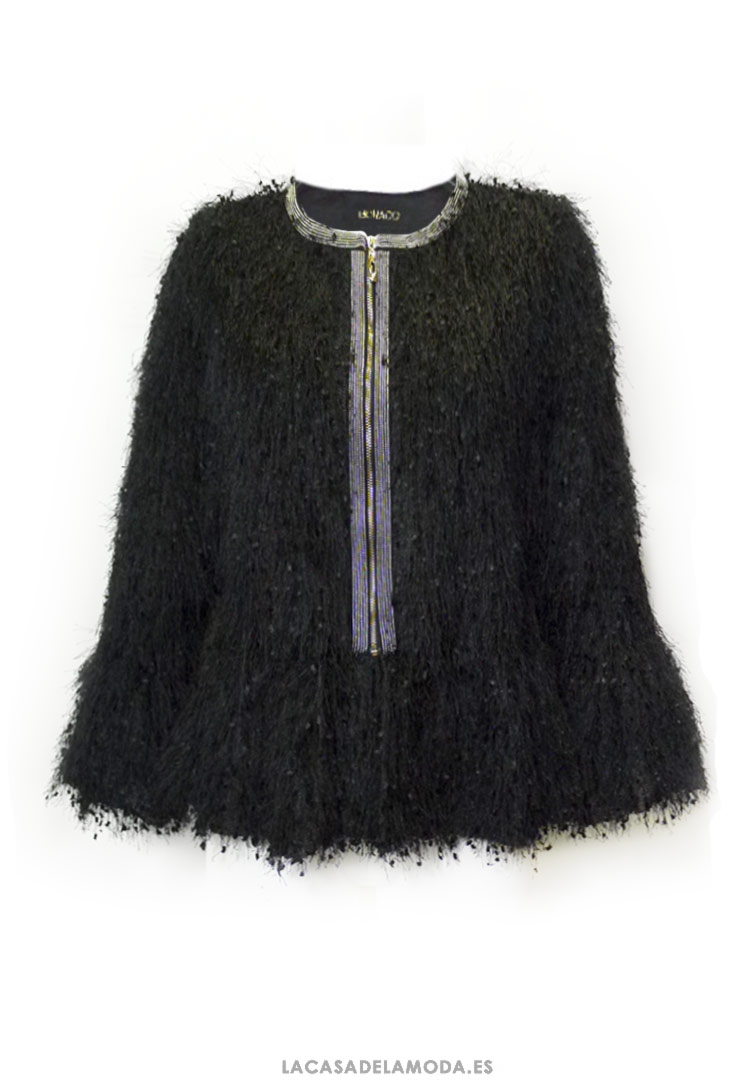 d5edd7c4e3143 Chaqueta corta negra fiesta de pelo de vestir mujer