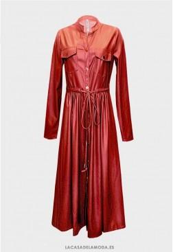 Gabardina impermeable mujer de piel sintética roja