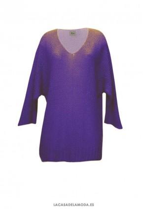 Jersey color violeta de cuello escote pico