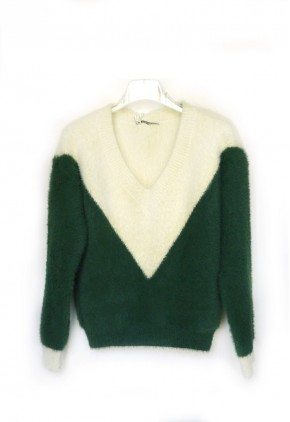 Jersey lana mujer verde con dibujo vertical