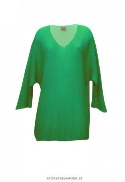 Jersey mujer verde con cuello pico