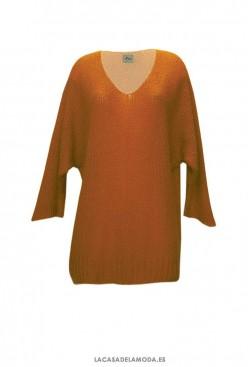 Jersey teja de punto fino y cuello pico
