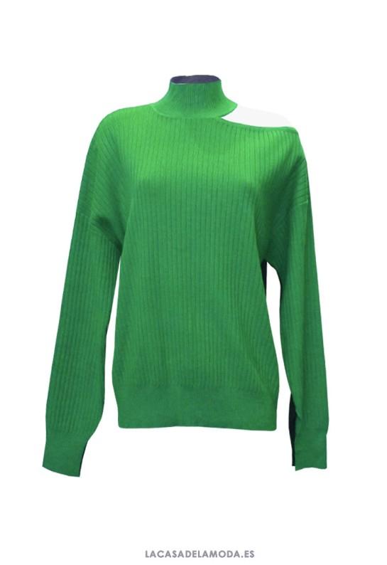 Jersey verde y azul mujer asimétrico en el cuello