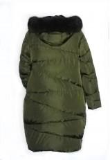 Plumífero con capucha pelo de estilo oversize mujer y color verde