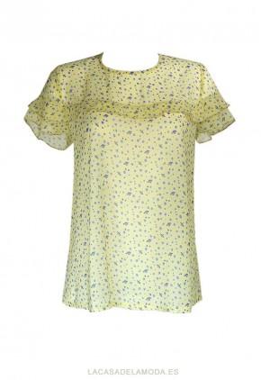 Blusa amarilla transparente de gasa con estampado