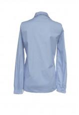 Blusa azul Niágara de algodón con guirindola y manga larga vestir o informal