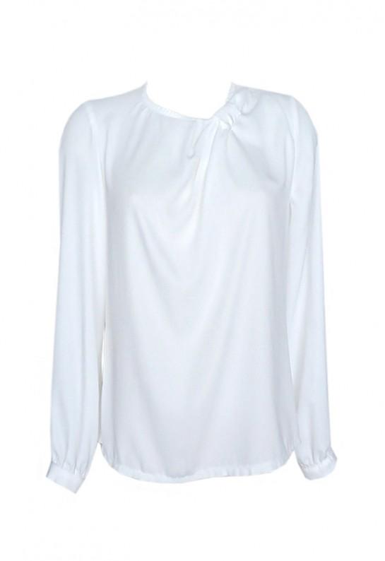 Blusa blanca de vestir sin cuello y manga larga