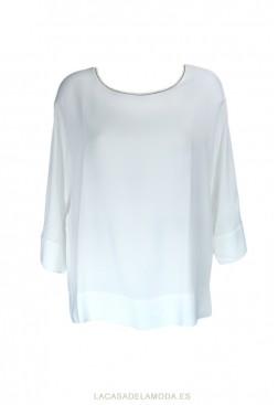 Blusa blanca holgada elegante y juvenil con manga