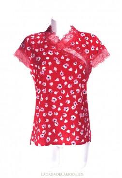 Blusa con encaje estampada para fiesta de noche o para bodas