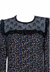 Blusa con encaje y transparencia negro con manga larga