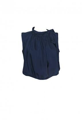 Blusa con lazo en el hombro abullonada y manga sisa