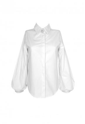 Blusa de fiesta blanca con manga larga abullonada y perlas