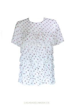 Blusa estampada floral con encaje y volantes