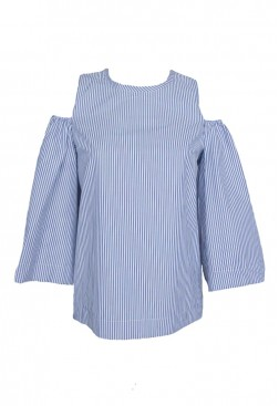Blusa manga larga trompeta de rayas azules y hombro descubierto