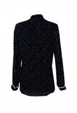 Blusa negra con lunares blancos de manga larga