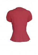Blusa roja cuello pico y peplum de manga corta